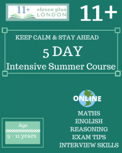 5 Day Intensive 11+ Summer Course (ONLINE)