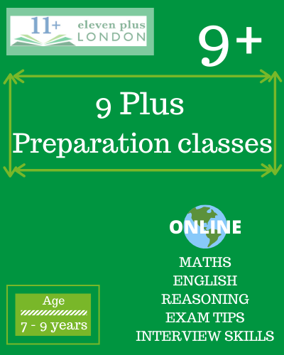 9 Plus preparation classes: online tuition and classroom tuition