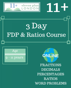 3 Day 11+ Fractions, Decimals and Percentages Course (ONLINE)